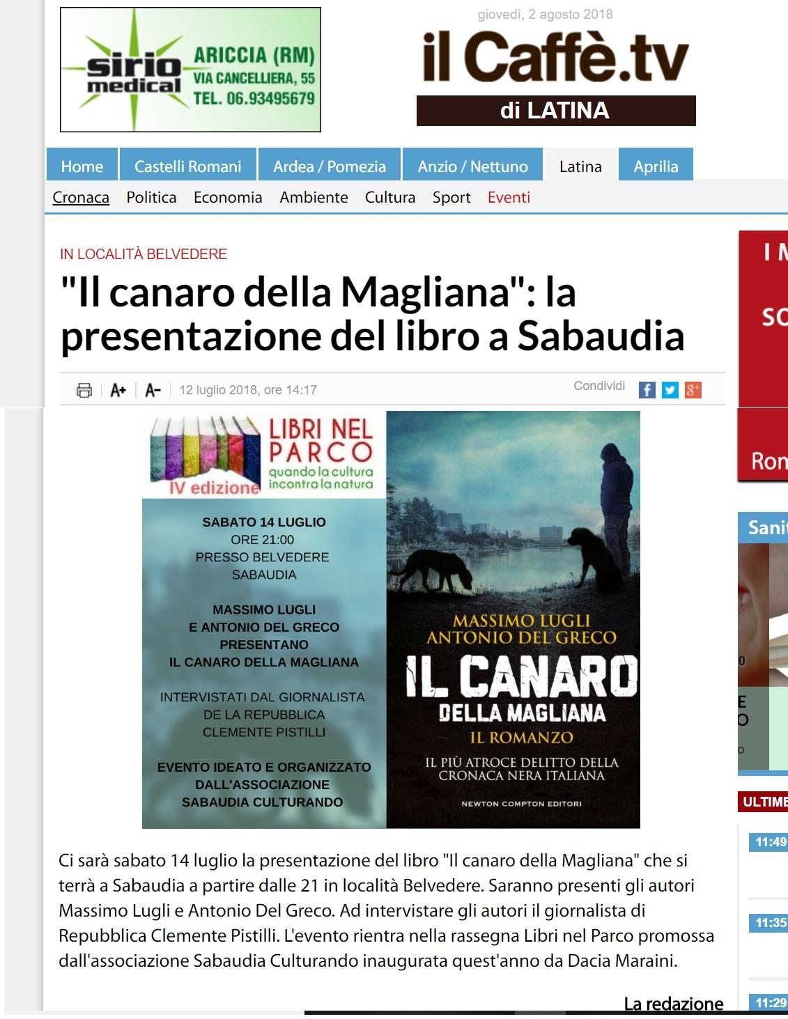 12 luglio ILCAFFE'.IT IL CANARO DELLA MAGLIANA LA PRESENTAZIONE DEL LIBRO A SABAUDIA