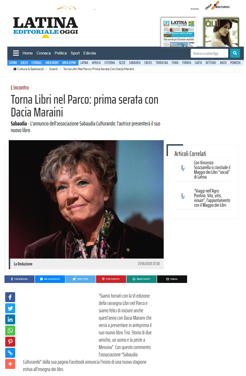 Latina Editoriale Oggi 21 Giugno 2020